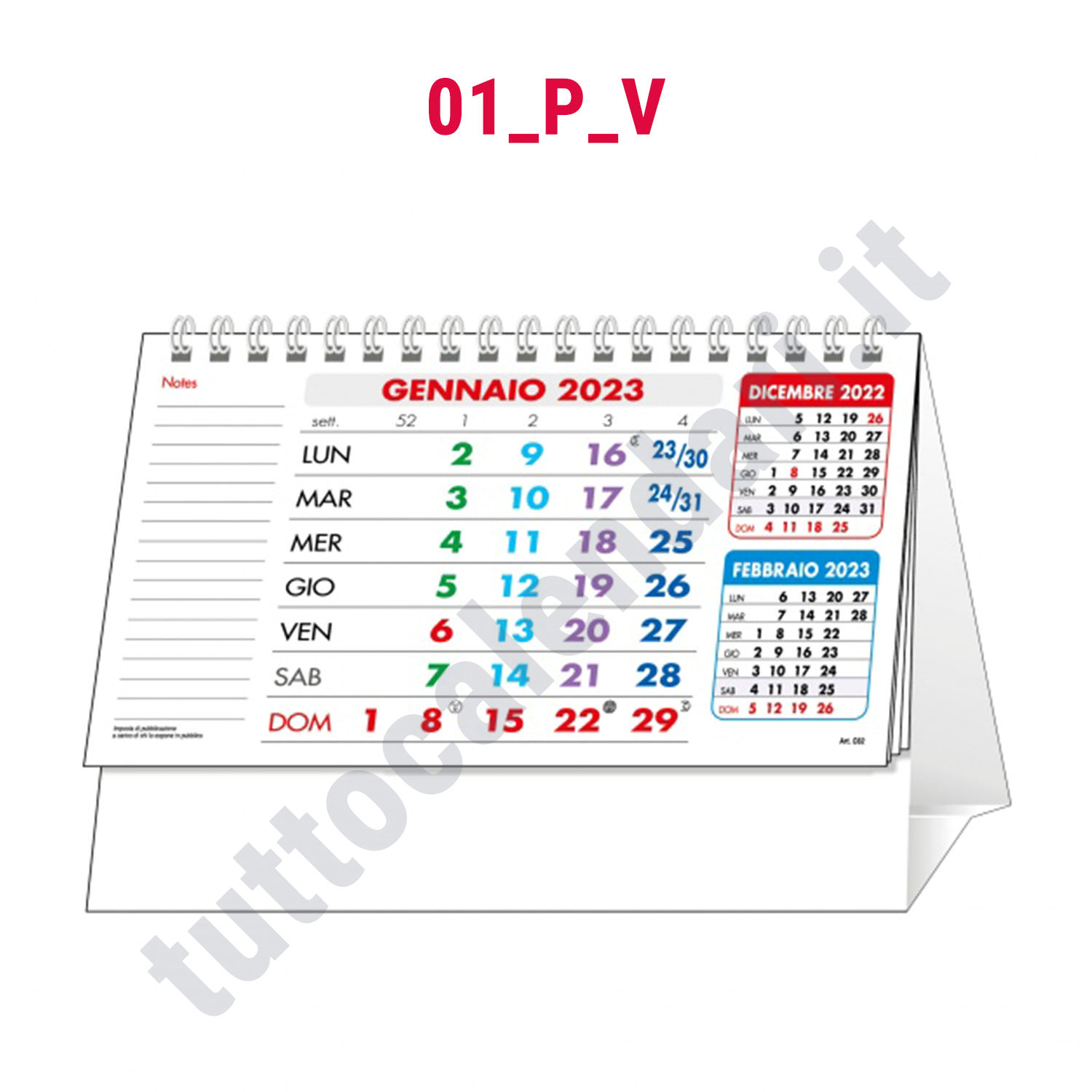 Calendario da banco personalizzabile