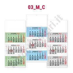 Stampa calendario trittico da muro multicolor